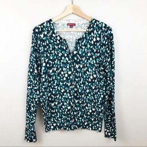 Soft Abstract Watercolor Print Cardigan Sweater M
